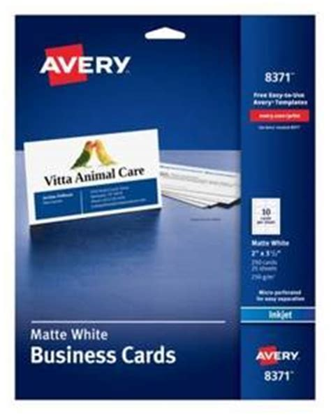 Avery Inkjet Microperforated Business Cards 2 X 3 12 Matte White Pack Of 250 By Office Depot Office Depot Business Card Template 8371