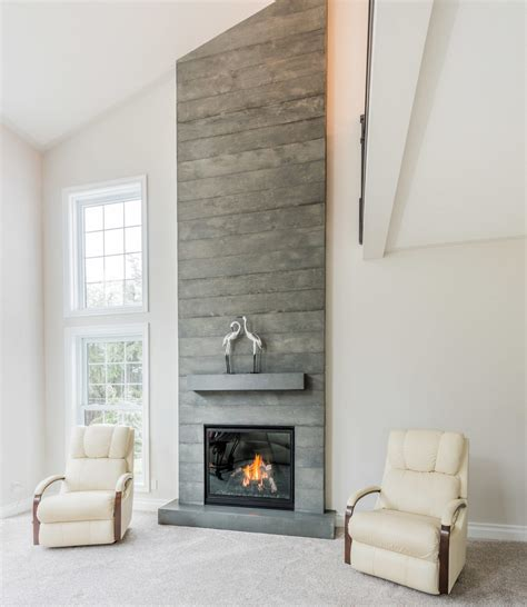 Board Formed Concrete Fireplace   Brantford, Ontario