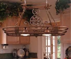 Kitchen Pot Racks With Lights Pot Rack With Lights Homesfeed