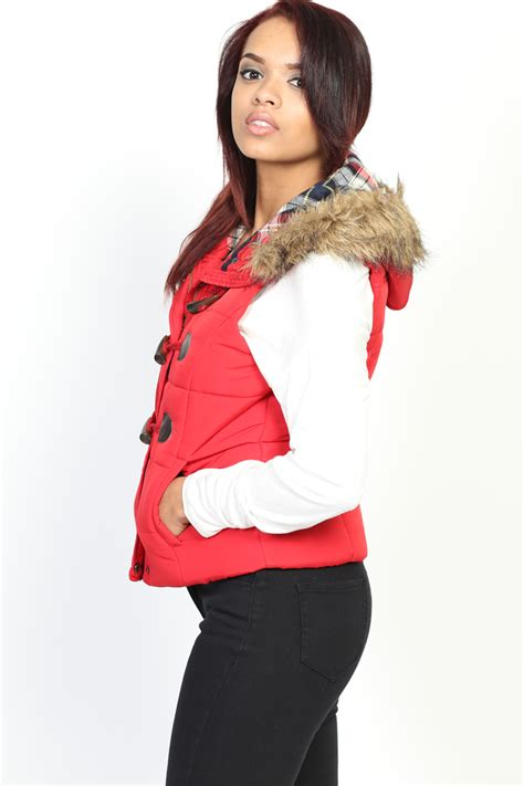 Lust List Shearling Puffer Vest by Themogan Toggle Button Padded Vest W Fur Sleeveless