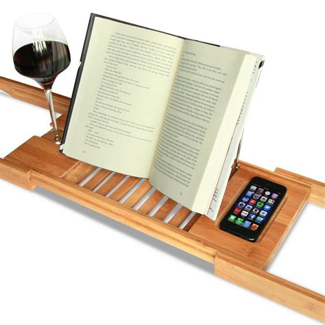 bathtub reading tray with wine holder book holder and