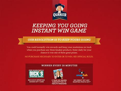 Instant Win Game - quaker instant win game