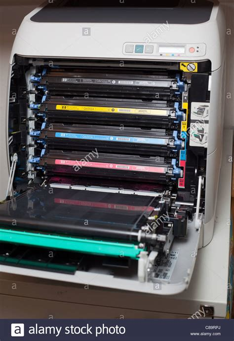 Toner Laser Jet 2605dn toner cartridges in hp color laserjet 2605dn printer stock