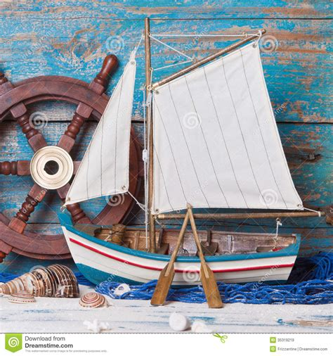 boat made of wood sailboat decoration stock image image of maritime mussel