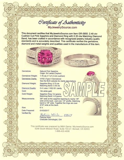 jewelry design certificate jewelry certificate of authenticity sle gallery