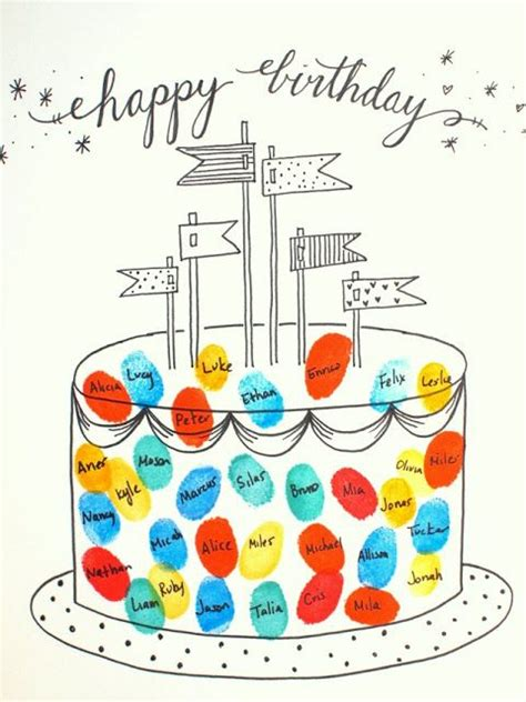 Thumb Print Cards Craft By Free Template by Best 25 Birthday Ideas On