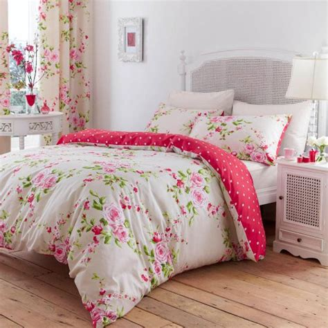 floral bedroom canterbury floral red cream single duvet cover bedding set