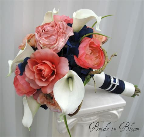 coral flowers coral navy blue wedding bouquets coral wedding bouquets