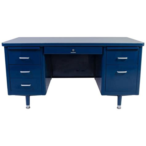 Small Tanker Desk Steelcase Tanker Desk In Marine Blue Edited By Montage At 1stdibs