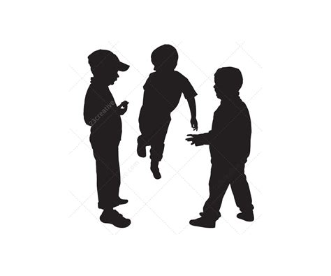 silhouette vector kids silhouettes vector pack boys and girls sillhouette