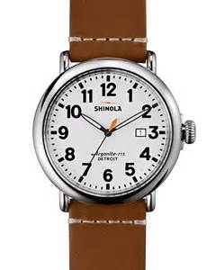 shinola 47mm runwell leather in brown for lyst
