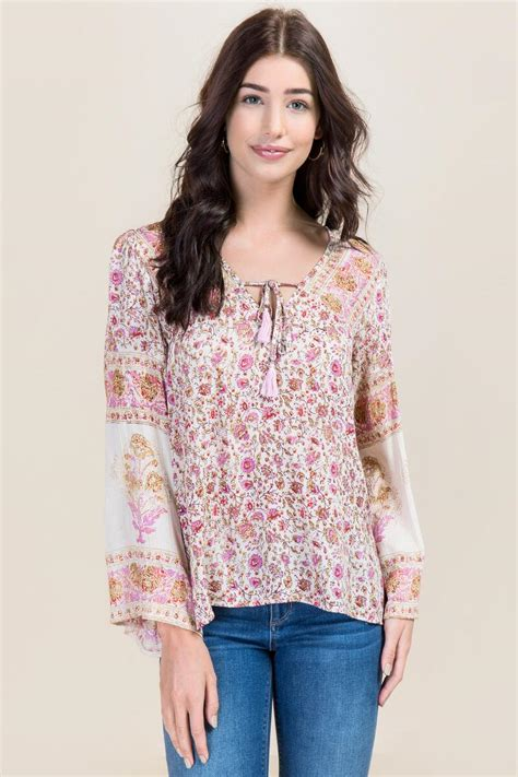 felicia floral bell sleeve top s