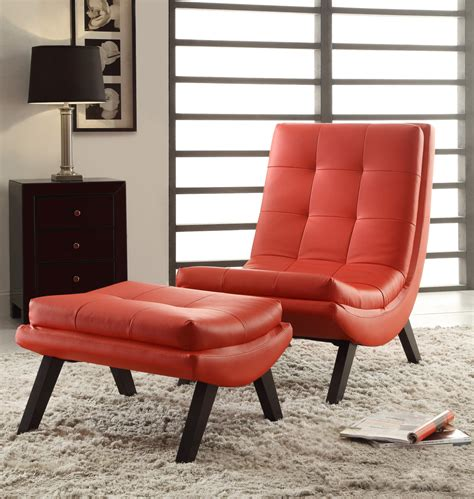 fabric chair and ottoman sets tustin lounge chair and ottoman set with red fuax leather