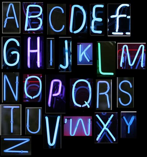 printable neon letters neon sign series featuring the alphabet in blue photograph