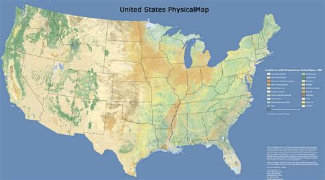 physical map of usa with states united states map