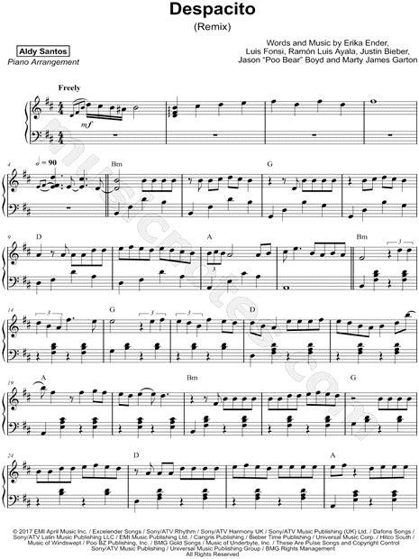 despacito easy lyrics justin bieber aldy santos quot despacito remix quot sheet music piano solo