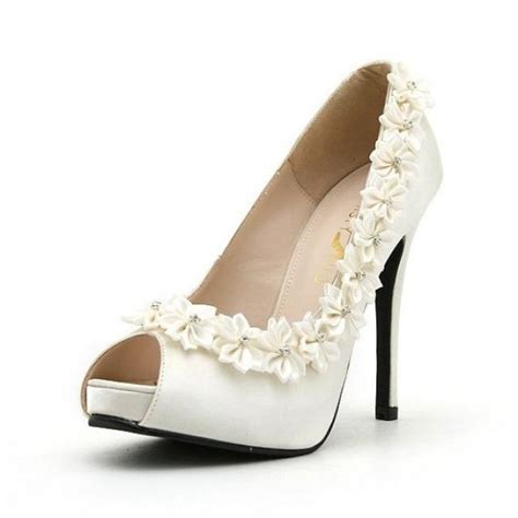 Satin Heels Wedding by White Wedding Shoes Wedding Shoes With White Roses
