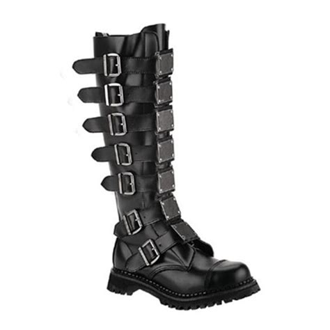 demonia reaper 30 black leather mens buckle boots