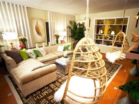 hanging chair for room retro modern living room the hanging chairs in this modern living room add a retro flair while