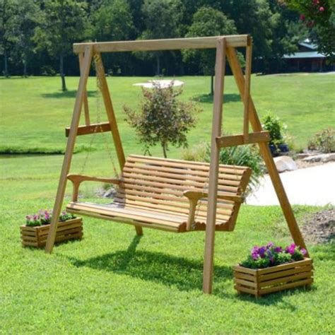 porch swing set sittin easy classic solid oak porch swing set