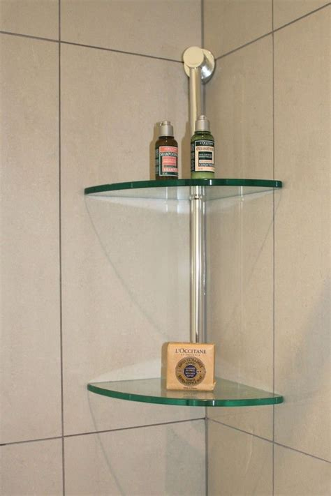 glass corner shelves in shower home