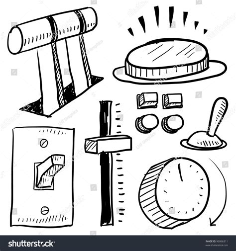 how to create energy in doodle doodle style electricity equipment in vector format set