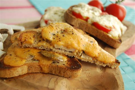 Main Course Meat Dishes - vegan welsh rarebit two ways mushroom and tomato veghotpot