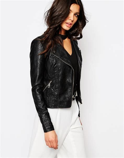 River Island Leather Cropped Jacket by River Island Whipstitch Leather Look Biker Jacket Ootd