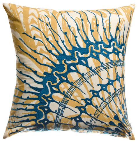 Blue And Gold Throw Pillows Koko Water Blue And Gold Jellyfish Throw Pillow