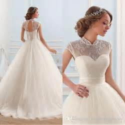 cheap high quality ball gown wedding dresses 2017 princess sheer high neck cap sleeves cut out