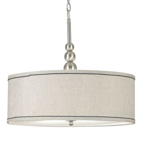 Drum Lighting Fixtures Shop Kenroy Home Margot 22 In Brushed Steel Single Drum Pendant At Lowes