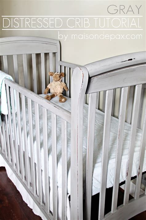 Distressed Crib Tutorial Guest Post Country Chic Paint Painting Baby Crib
