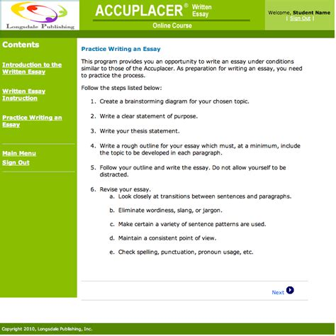 writeplacer guide with sle essays accuplacer essay practice tests