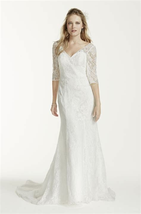 3 4 sleeve all over trumpet wedding dress style