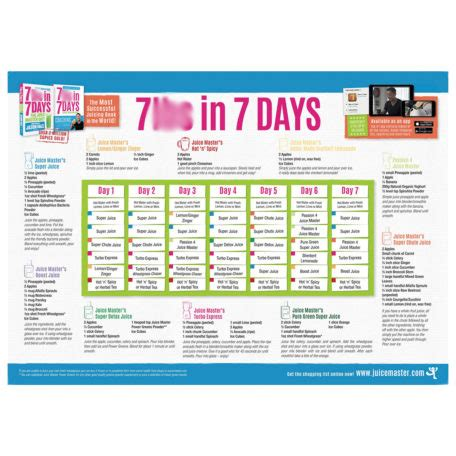 7 day juice challenge the juice master diet a3 wall planner juice master