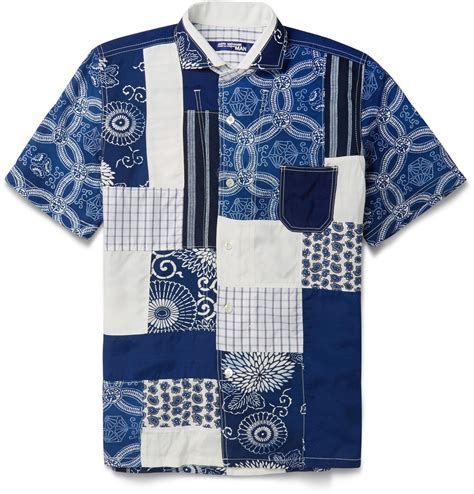 Patchwork Shirts - junya watanabe indigo patchwork shirt in blue for lyst