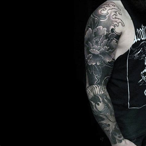 mens sleeve tattoo black and grey 100 peony tattoo designs for men flower ink ideas