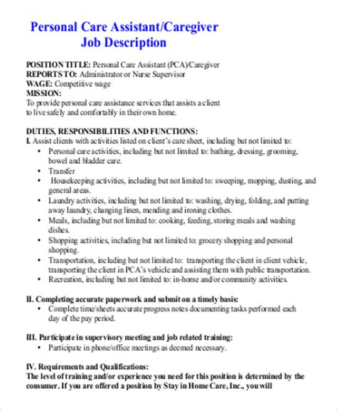 pca description resume sle for a caregiver