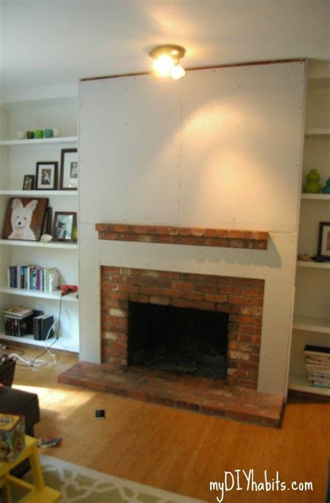 Fireplace Build Out by Adding Drywall To Brick Diy