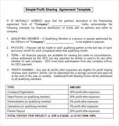 profit agreement template sle profit agreement 10 free documents in