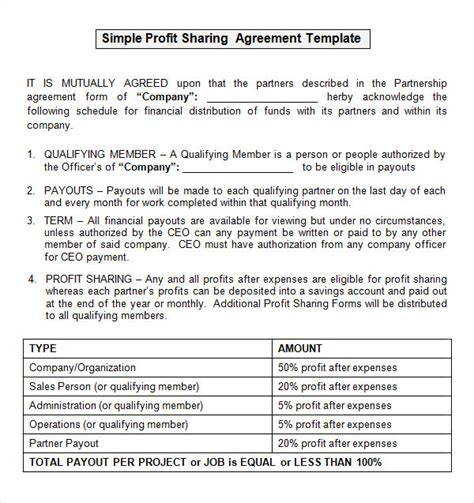 sle profit sharing agreement 14 free documents in