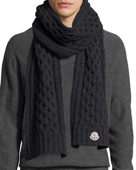 knitting pattern cashmere scarf moncler men s cable knit cashmere scarf in black for men