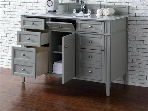 Bathroom Vanity No Top Contemporary 48 Inch Single Bathroom Vanity Gray Finish No Top