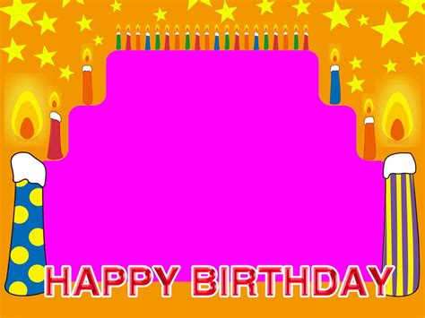 happy birthday photo frame template free happy birthday frame candles backgrounds for