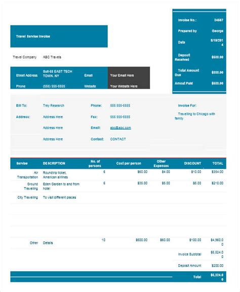 travel invoices 7 travel invoice sles exles in pdf word sle