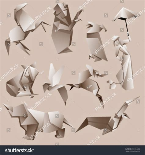 Cool Origami Animals - origami animals background vector design vectores en