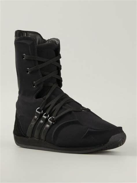 yohji yamamoto black cotton and leather boxing boots lyst