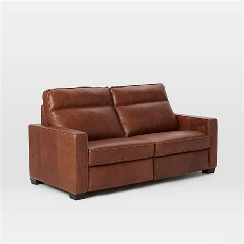 henry 174 leather power recliner sofa tobacco west elm