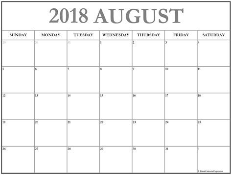 free printable blank calendar pages august 2018 calendar 51 calendar templates of 2018
