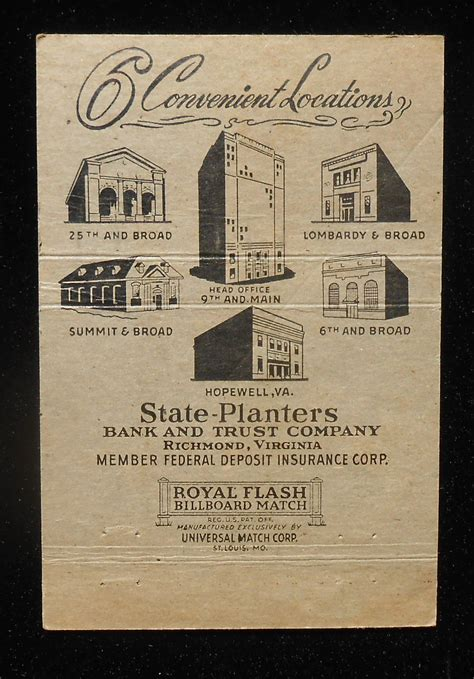 Planter Bank And Trust by 1950s Billboard Matchbook State Planters Bank And Trust Co